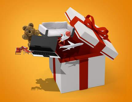 surprise gift box 3d-illustration