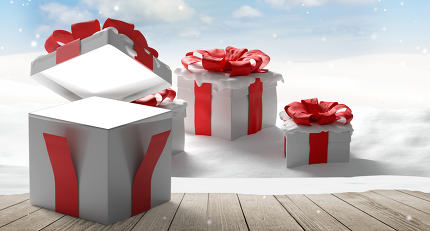 surprise opened box christmas presents background 3d-illustratio