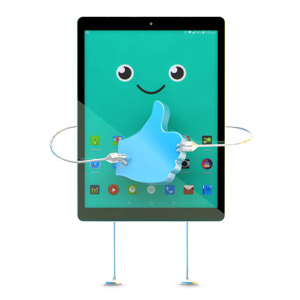 Tablet cartoon character with Like symbol. 3D illustration. Cont