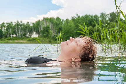 The woman in water