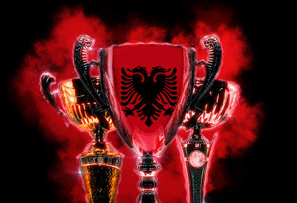 Trophy cup textured with flag of Albania. Digital illustration