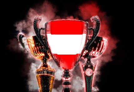 Trophy cup textured with flag of Austria. Digital illustration