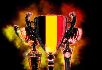 Trophy cup textured with flag of Belgium. Digital illustration