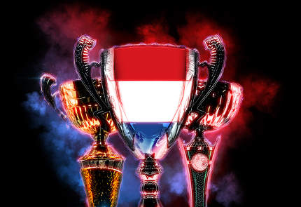 Trophy cup textured with flag of Nederlands. Digital illustratio