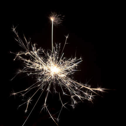 typical sparkler with dark background