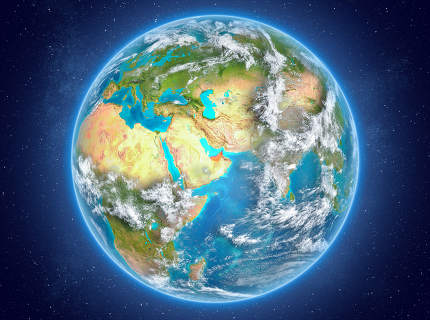 United Arab Emirates on planet Earth in space