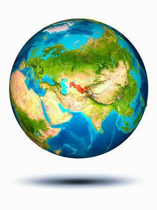 Uzbekistan on Earth with white background