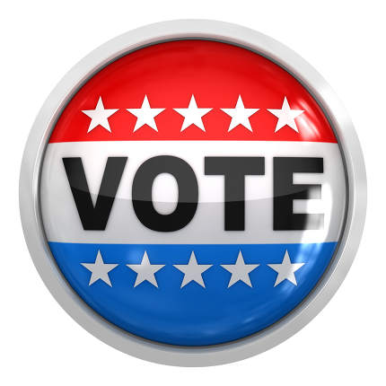 Vote button 3d rendered image