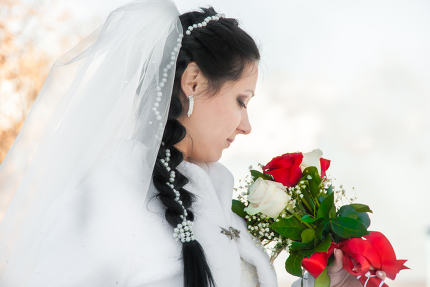 wedding bridal veil and flowers
