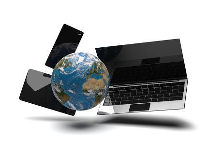 world globe phone tablet computer notebook 3d-illustration