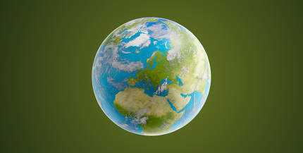 world planet earth globe 3d-illustration on green. elements of t