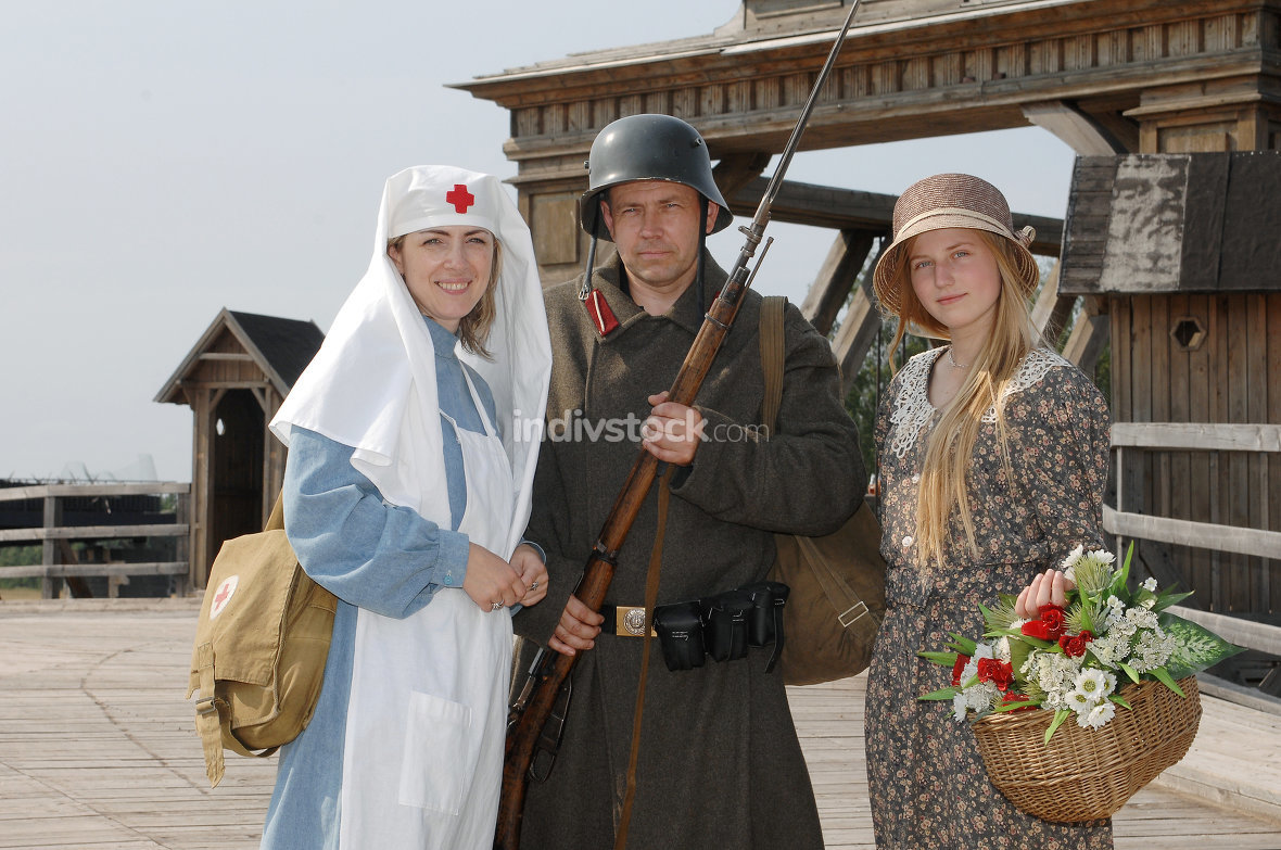 Two women and soldier;