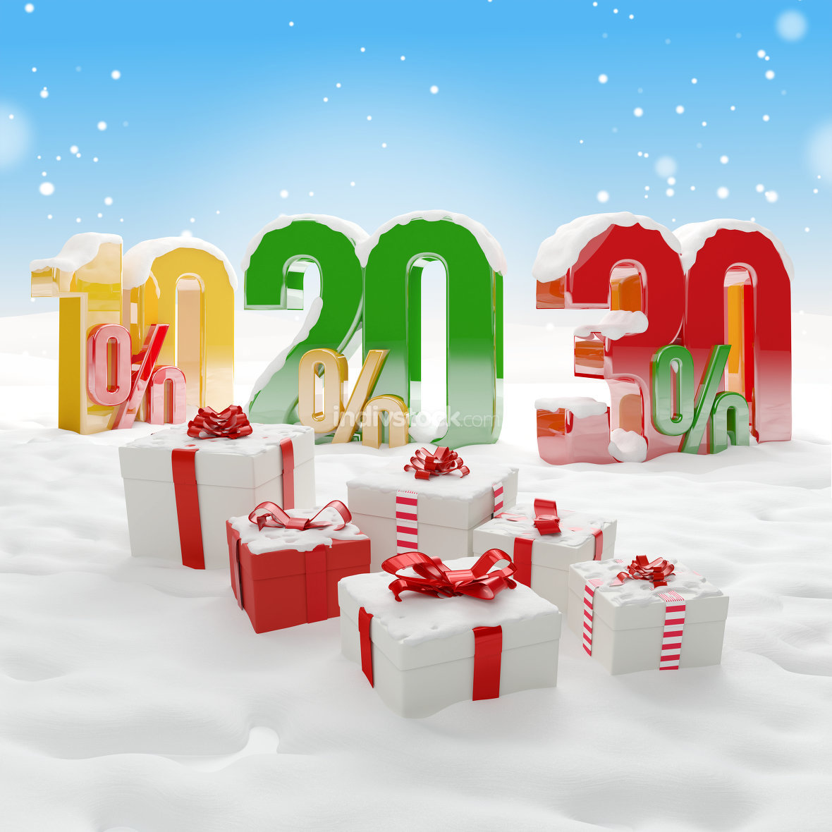 10 20 30 % christmas winter background gifts 3d-illustration