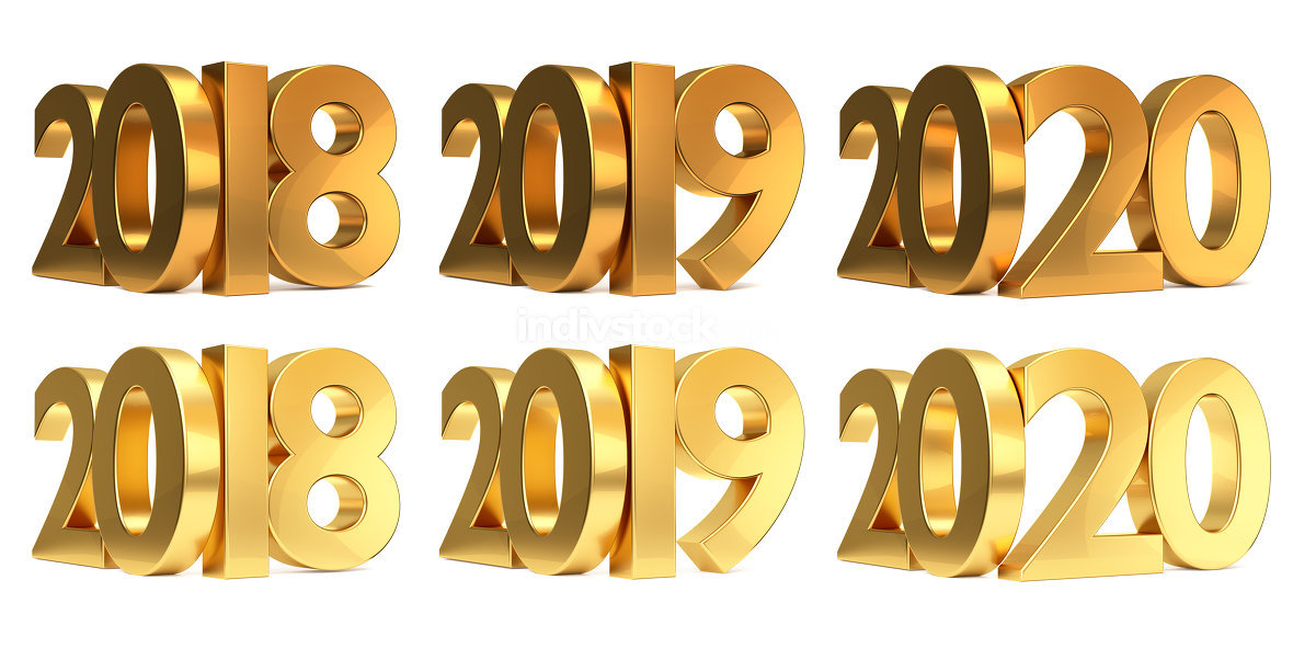 2018 2019 2020 gold 3d rendering