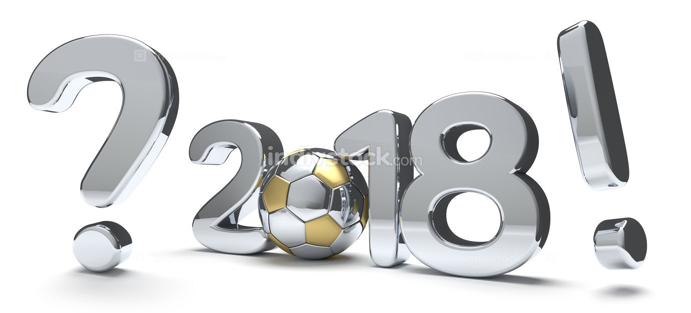 2018 bold number. question mark exclamation mark 3d render socce