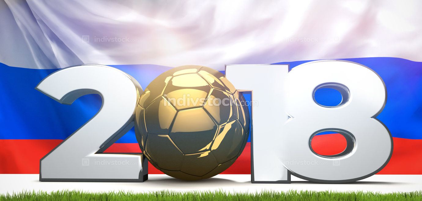 2018 symbol with russian flag. soccer football 3d render