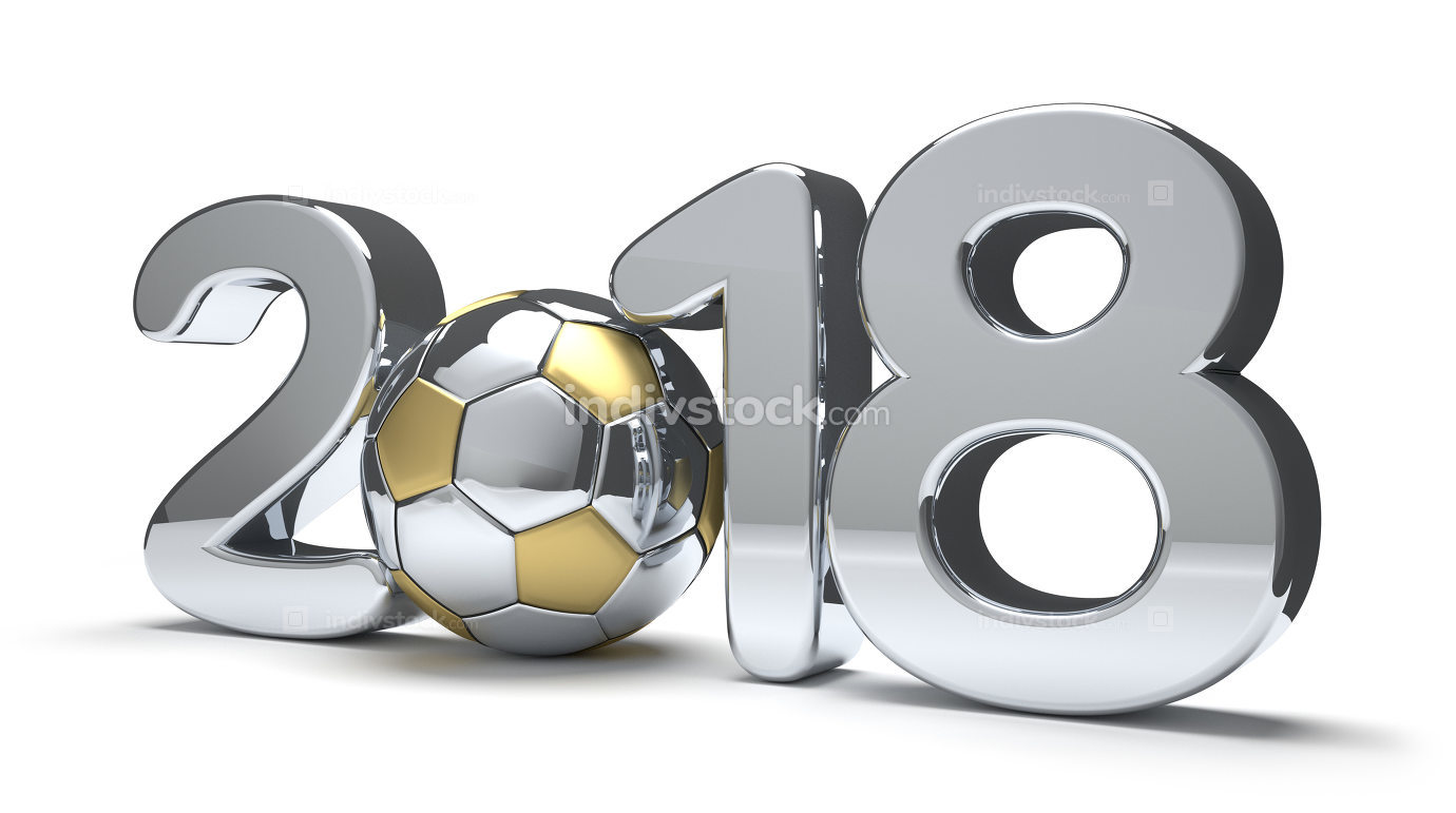 2018 with a soccer football ball isolated 3d rendering