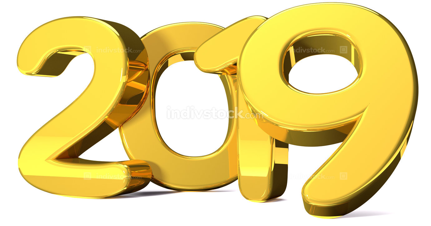 2019 golden bold numbers 3d render