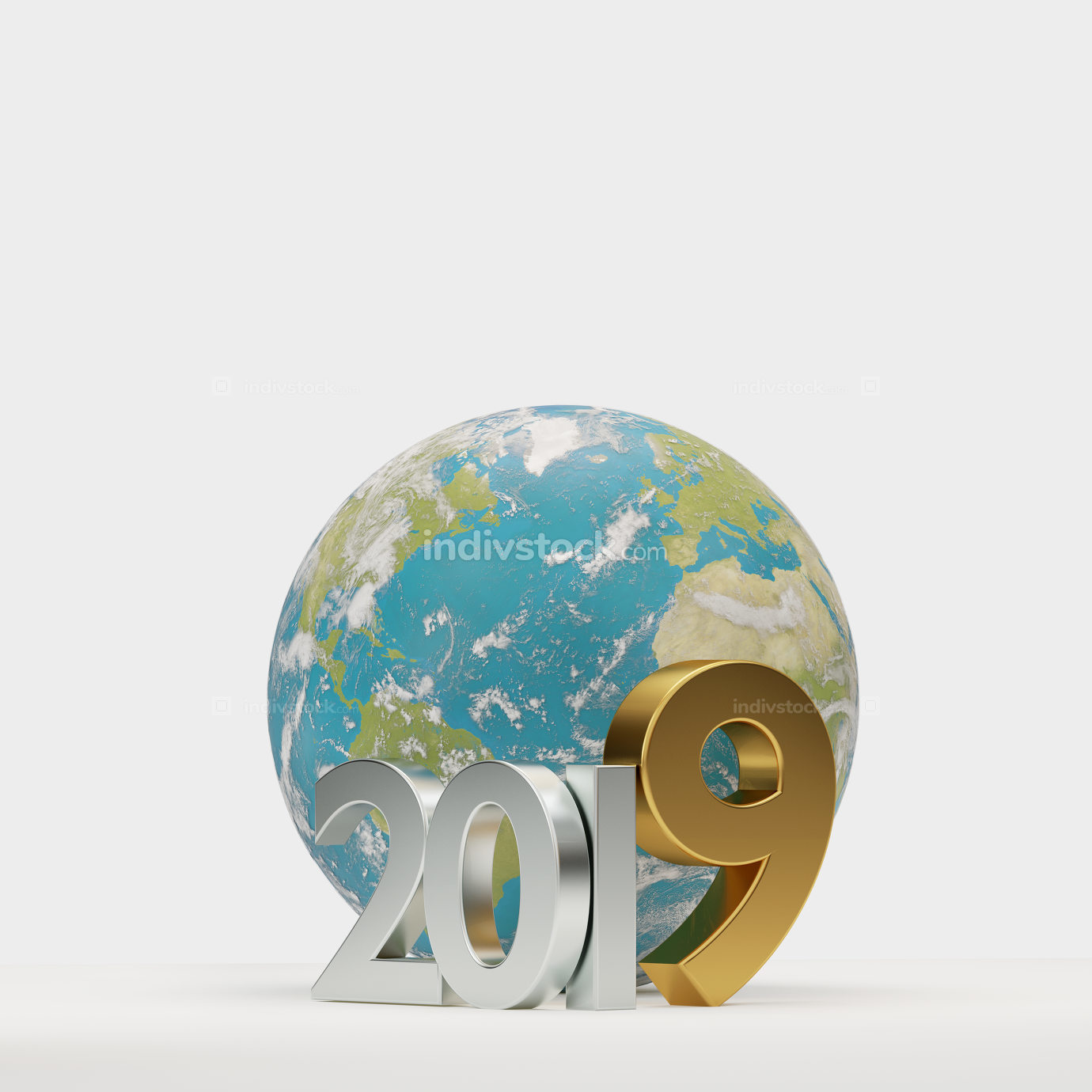 2019 golden symbol world wide planet earth 3d-illustration. elem