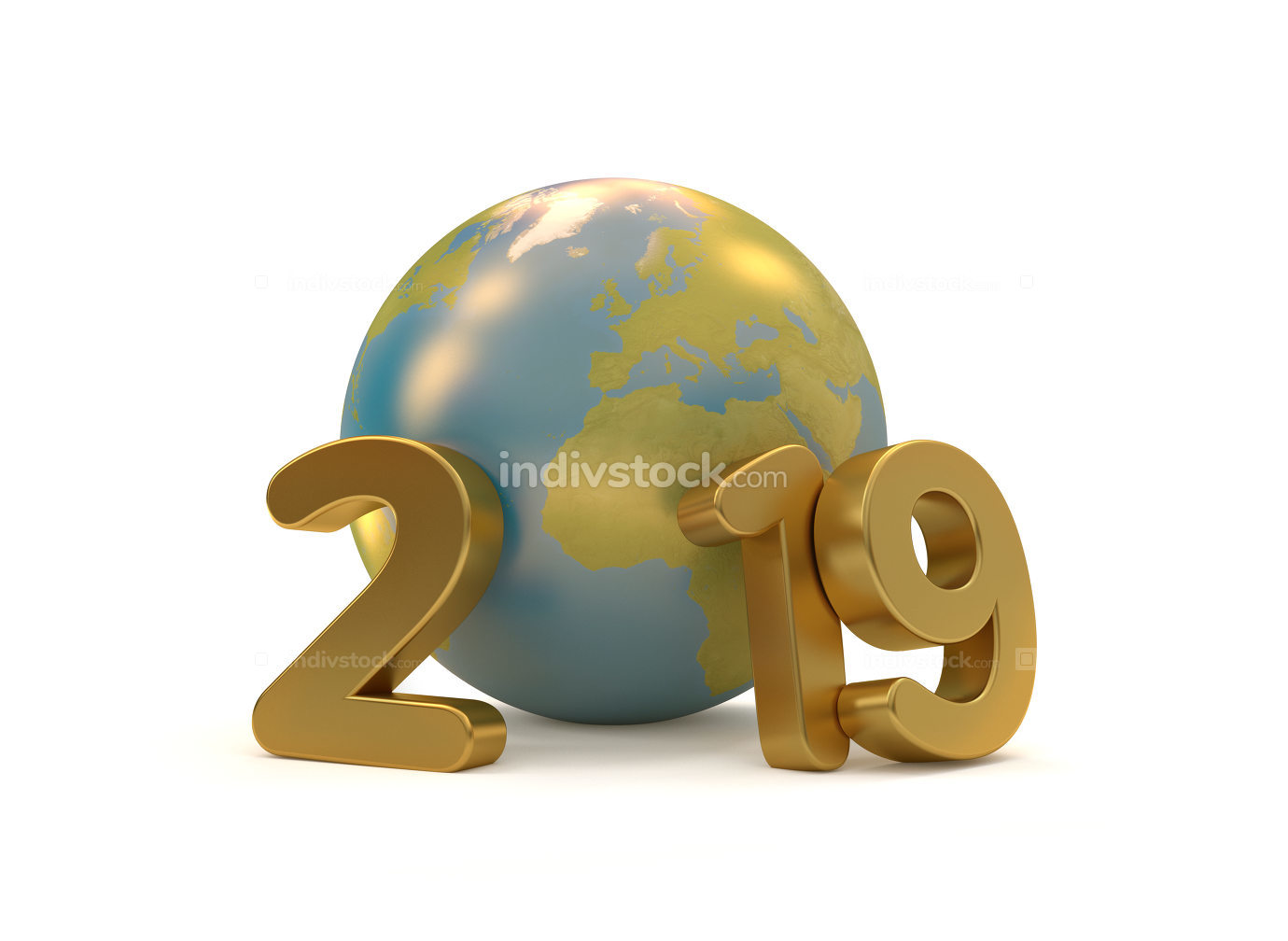 2019 multilingual for happy new year 3D-Illustration