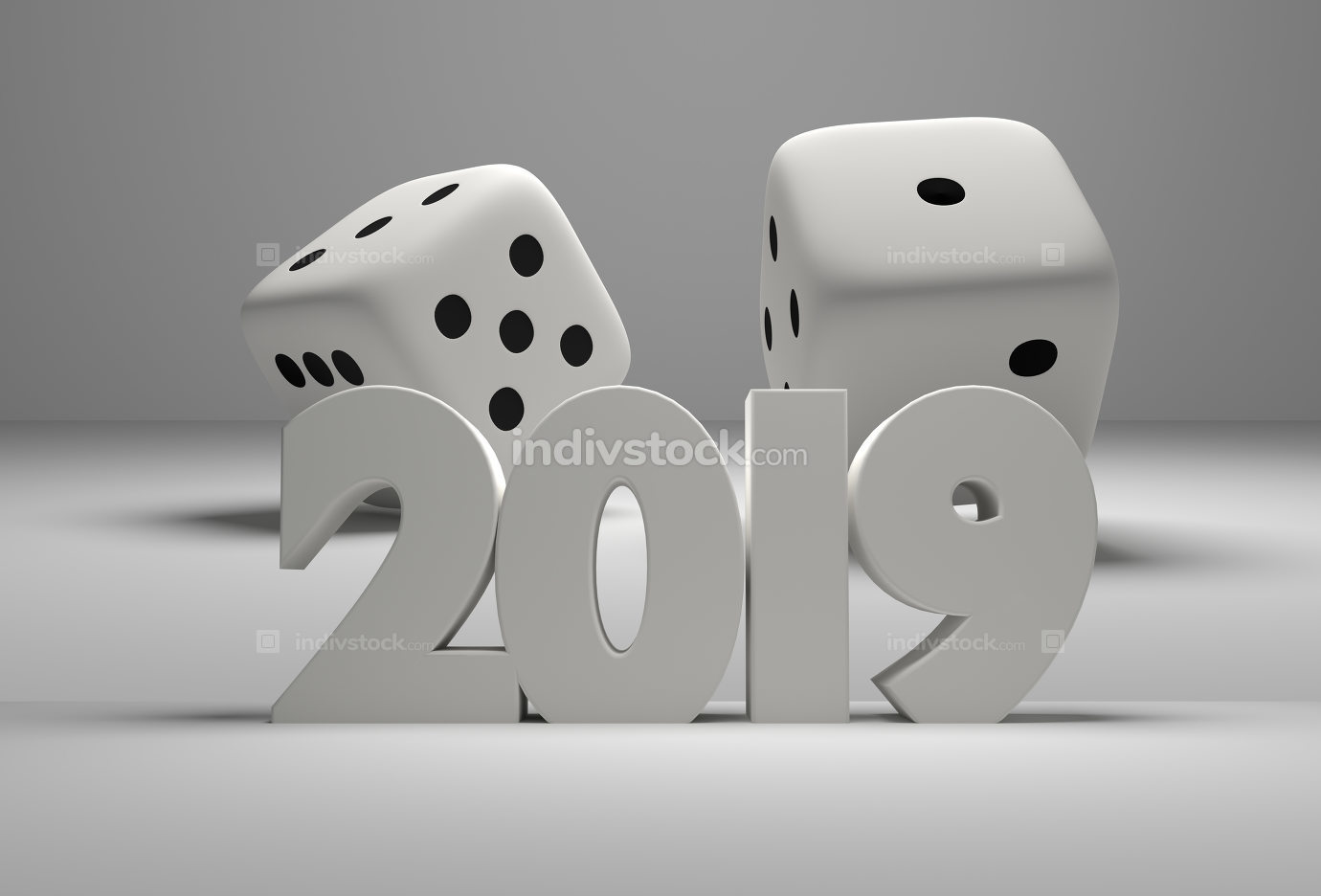 2019 white bold letters 3d rendering