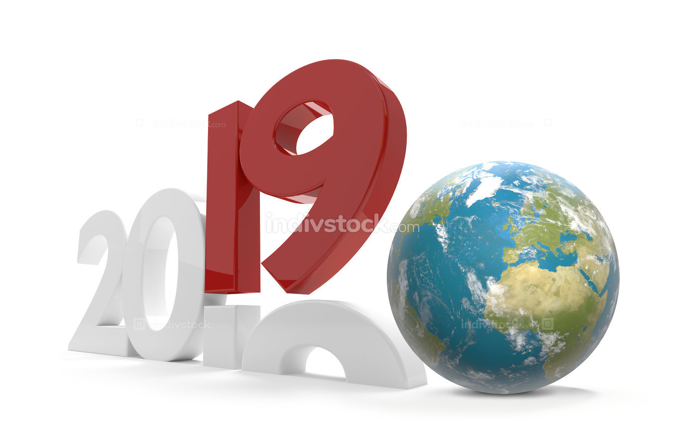 2019 world wide planet earth 3d-illustration. elements of this i