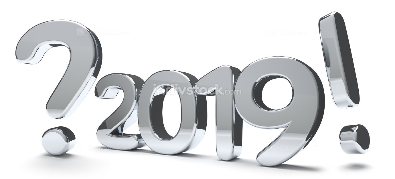 2019 year bold number question mark exclamation mark 3d render