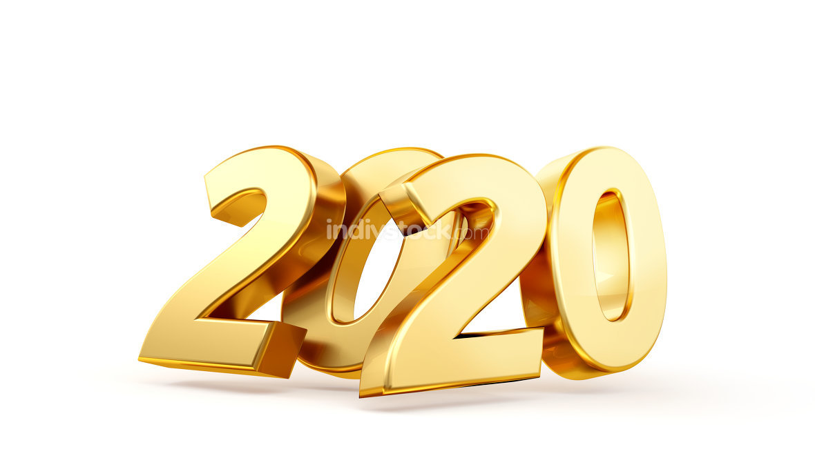 2020 bold letters isolated new year sylvester concept 3d-illustr