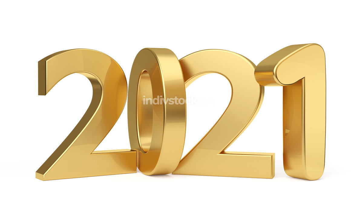 2021 golden bold letters 3d-illustration