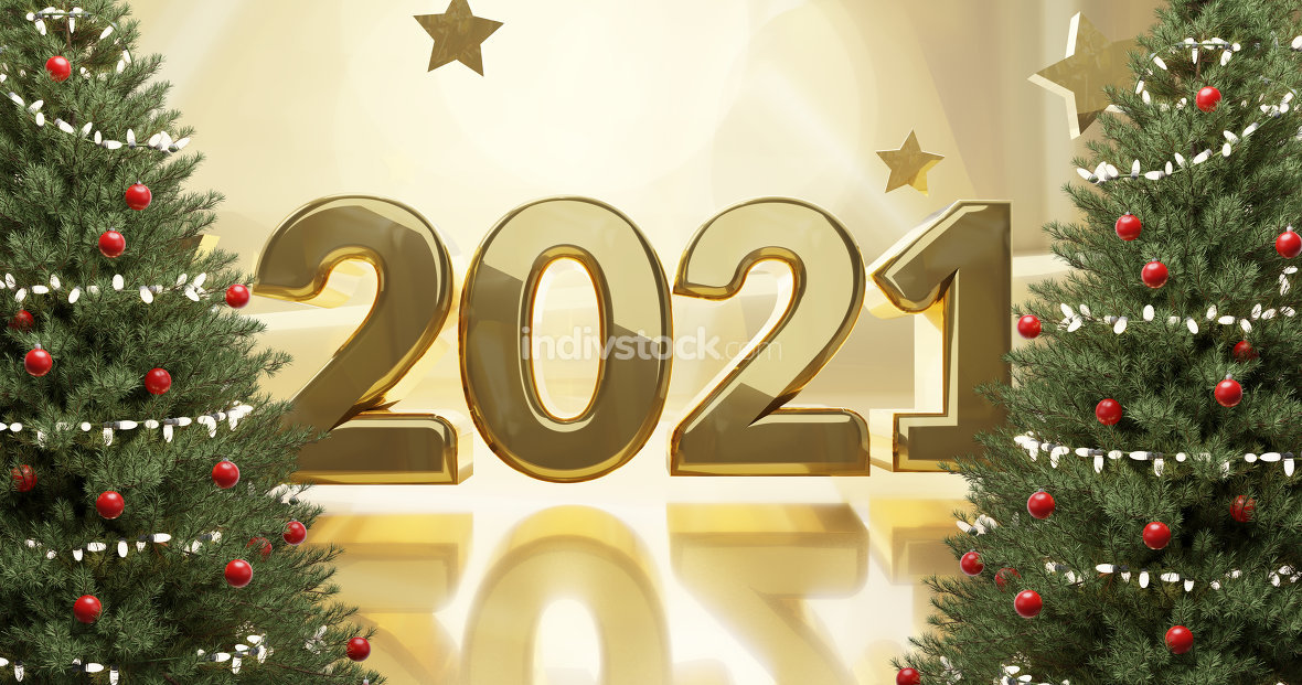 2021 golden design with christmas firs 3d-illustration