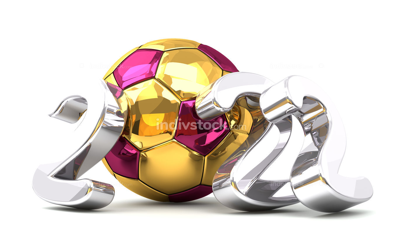 2022 golden Qatar colored ball and silver 2022 isolated 3d rende
