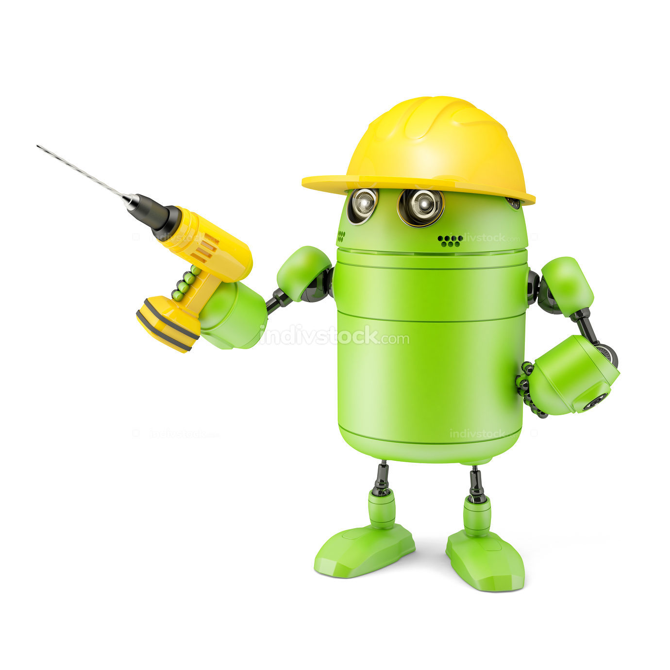 3? robot with drill. Technology concept