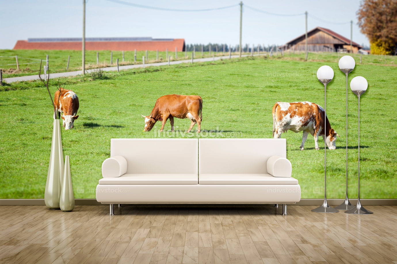 3d illustration photo wall mural cows