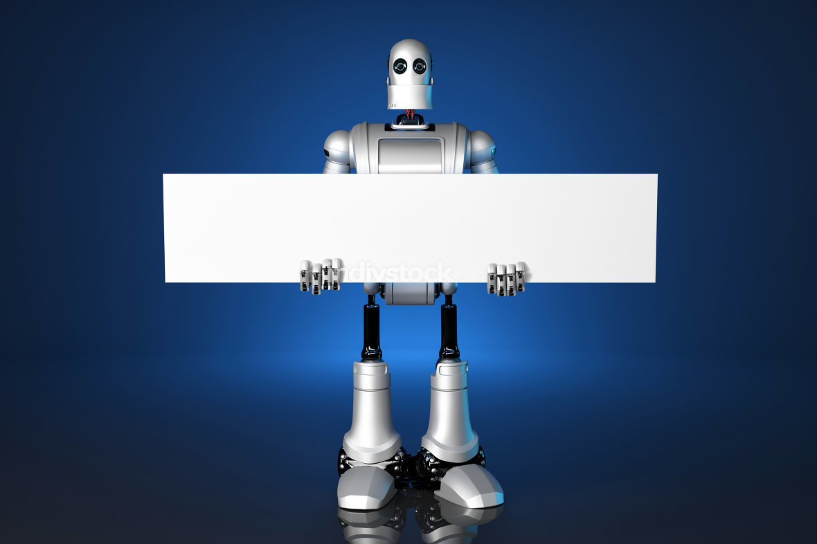 3d Robot holding a blank banner. Contains clipping path.
