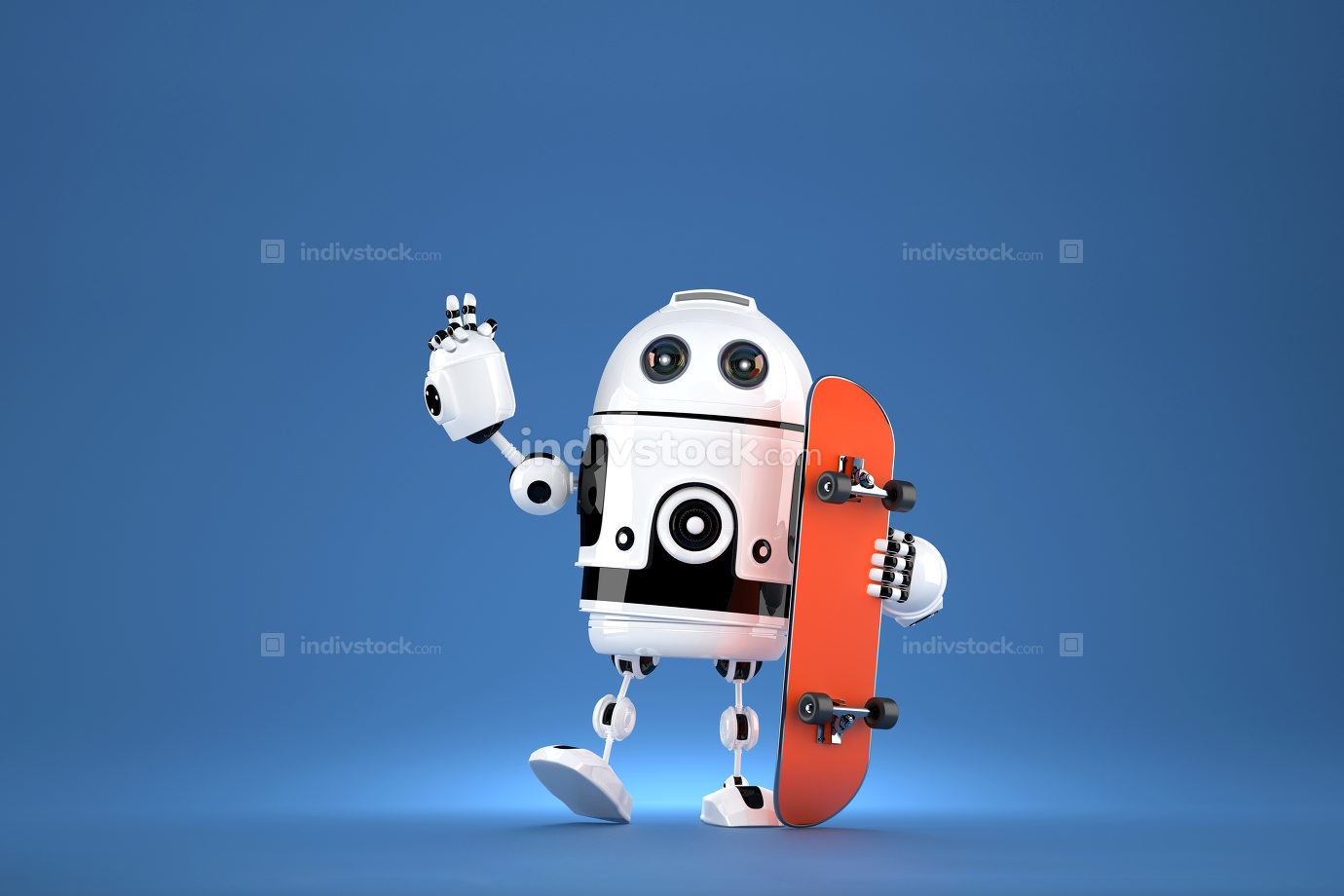 3D Robot with skateboard. 3D illustration. Contains clipping path