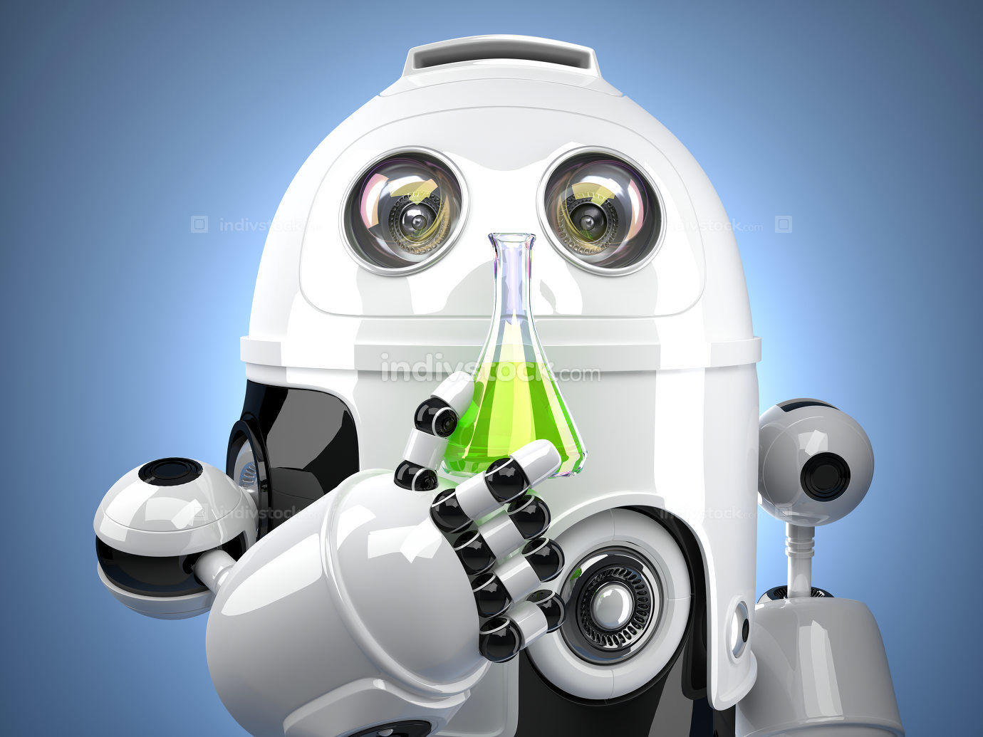 3D Robot with test glass flask