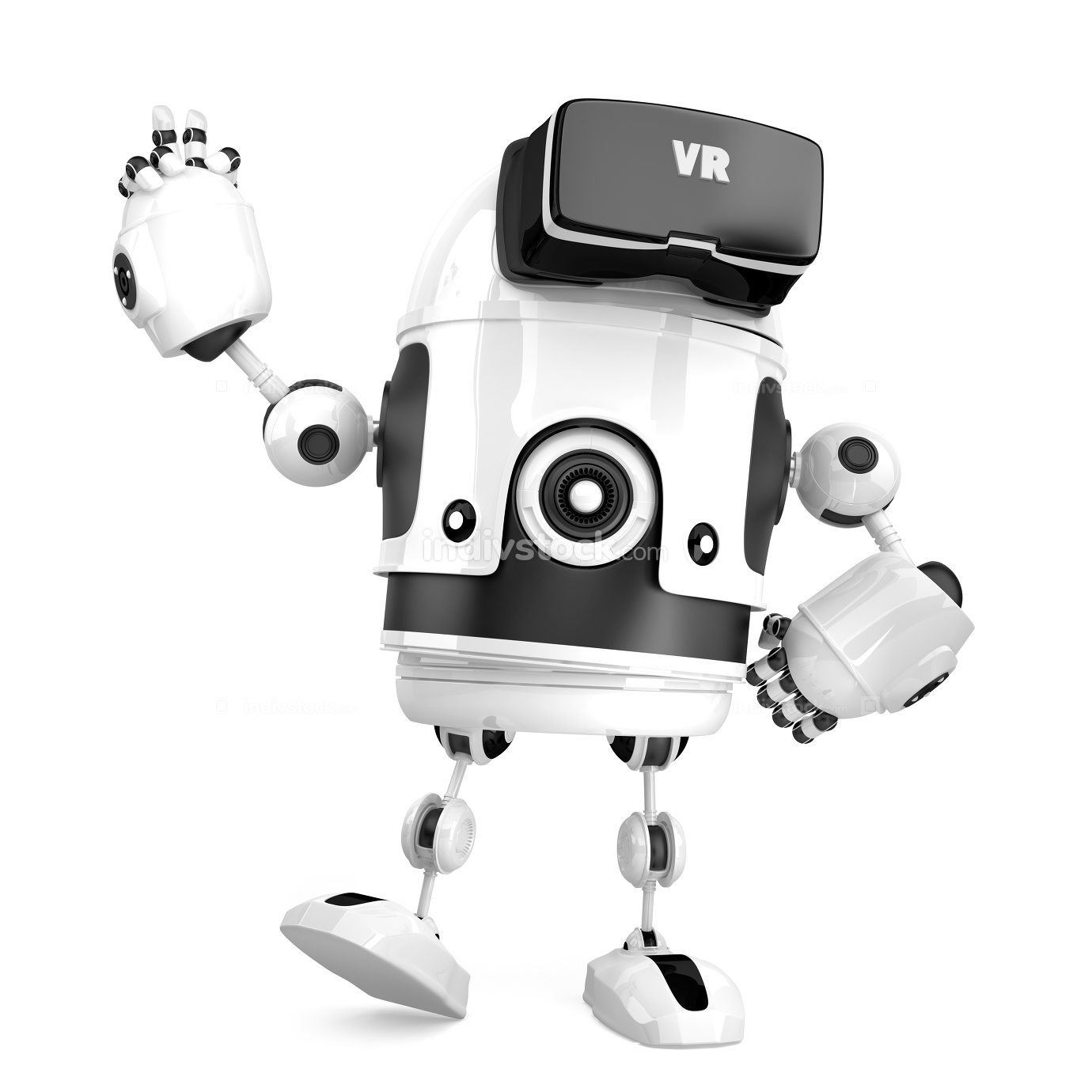 3D robot with VR glasses. 3D illustration. Isolated. Contains cl