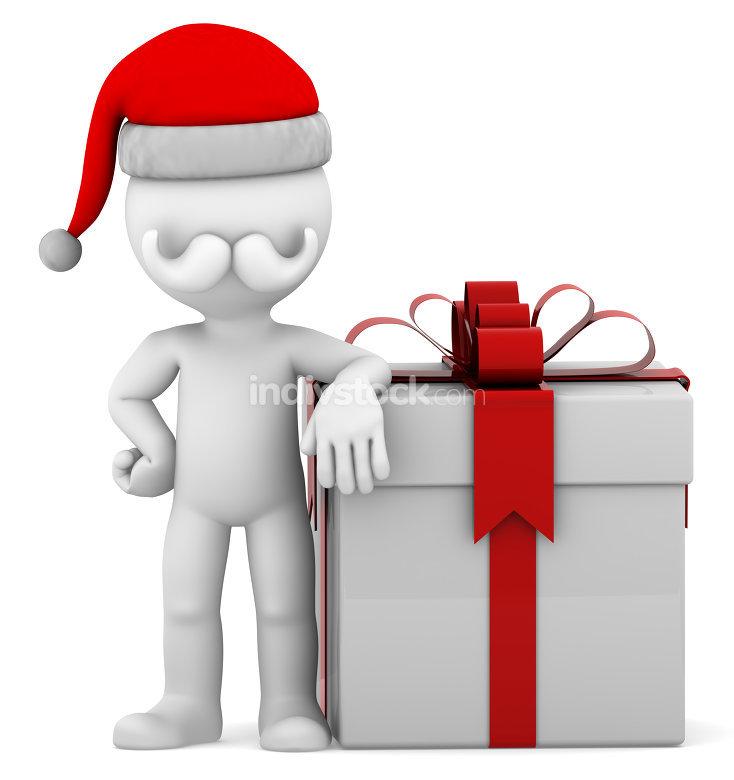 3d Santa with big present box