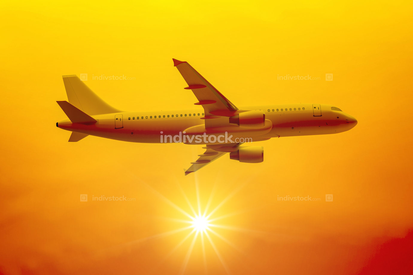 a flight in the sunset 3d illustration