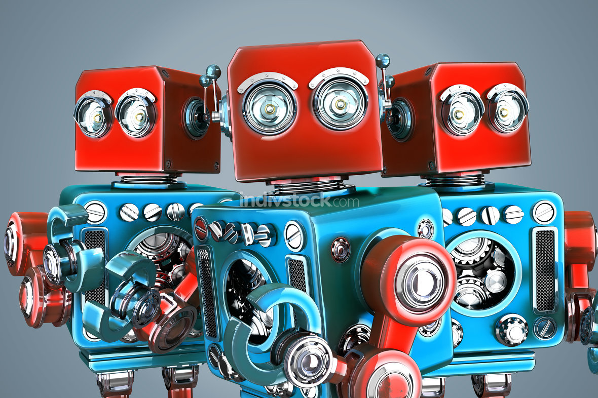 A team of vintage robots. Contains clipping path