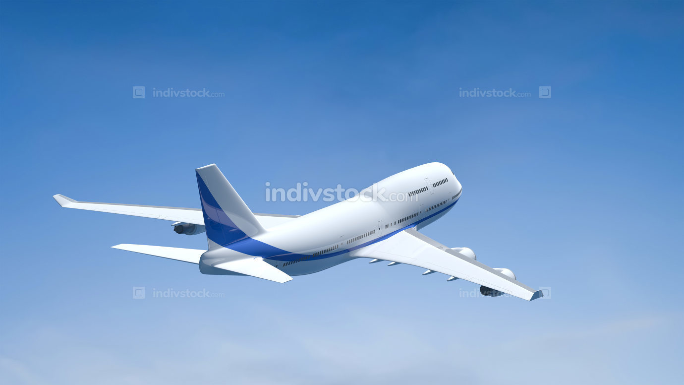 airplane in the blue sky 3D illustration