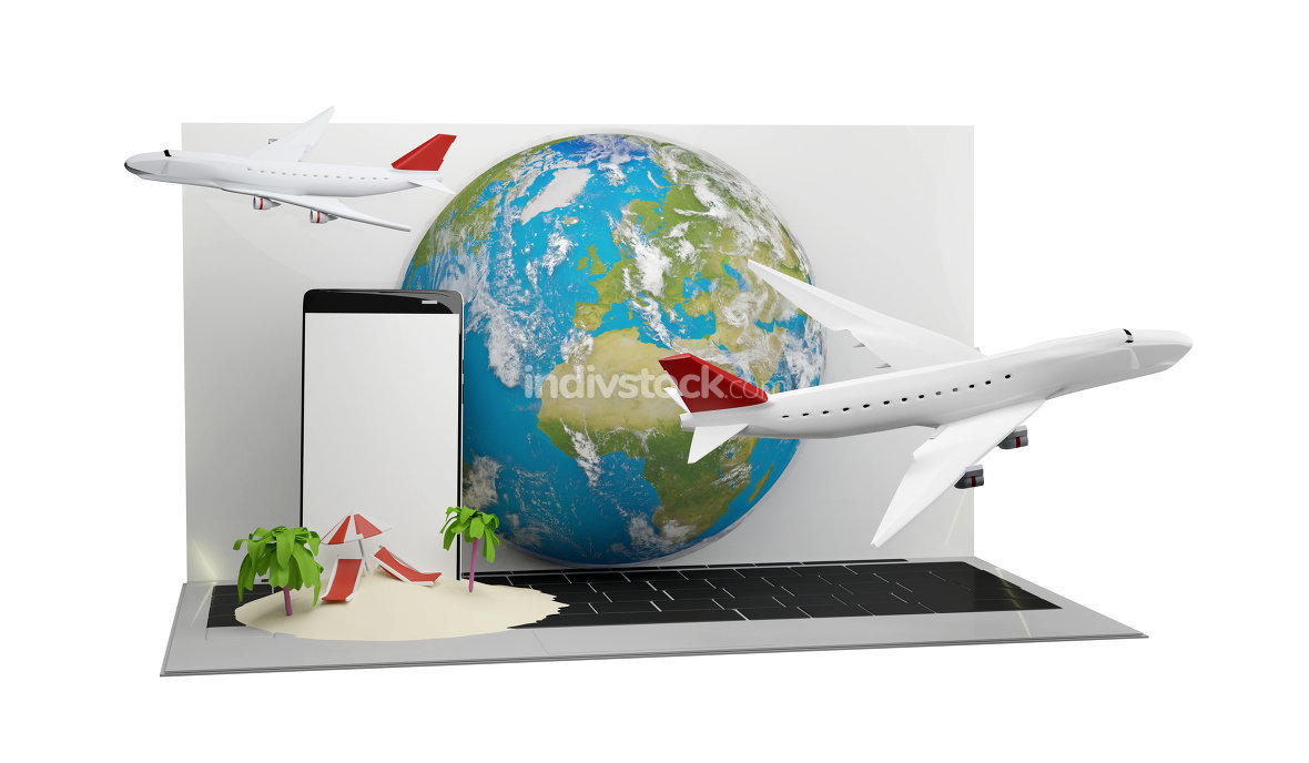 airplanes with computer screen and mobile phone front of planet earth. elements of this image furnished by NASA