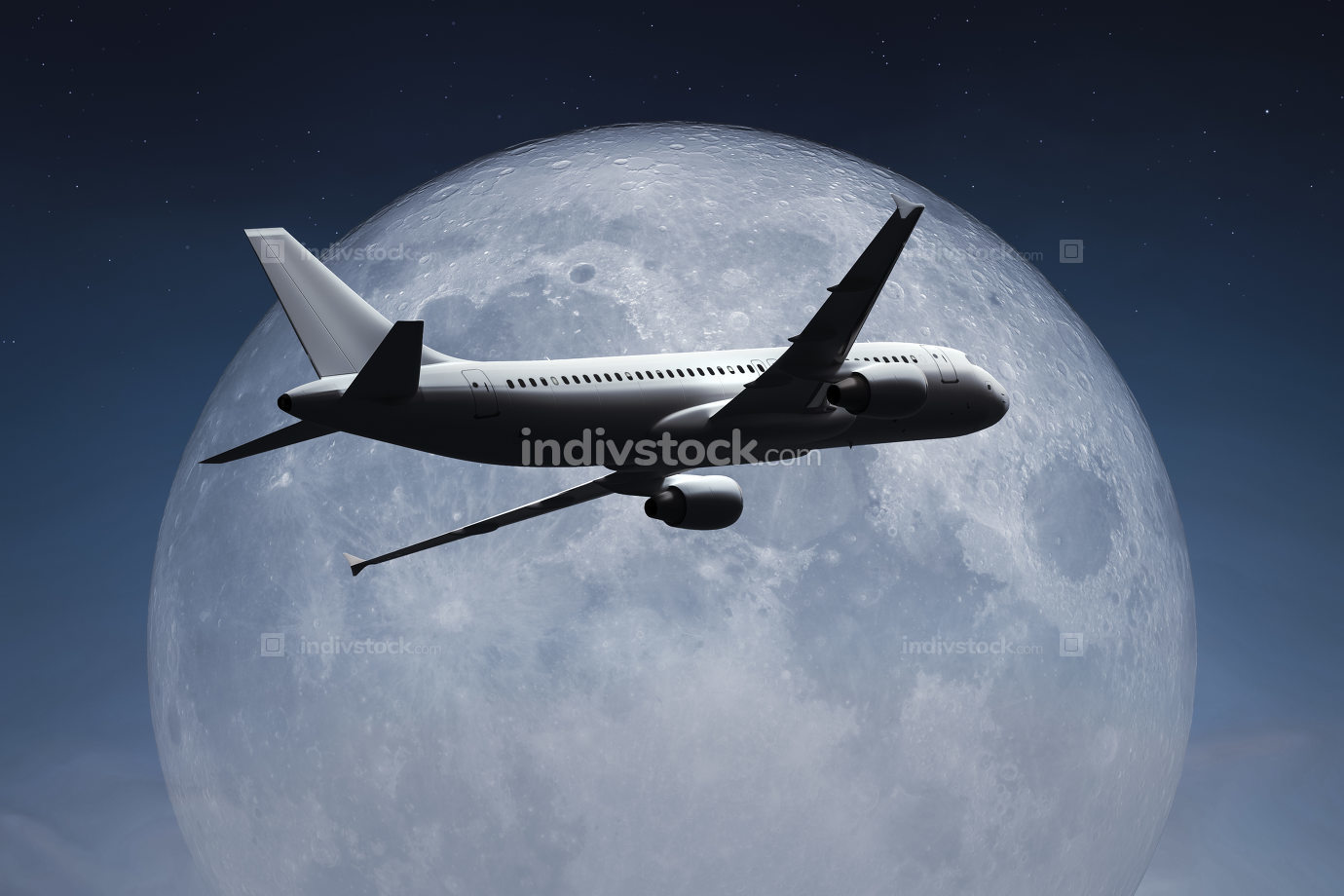 an airplane and the moon 3d illustration