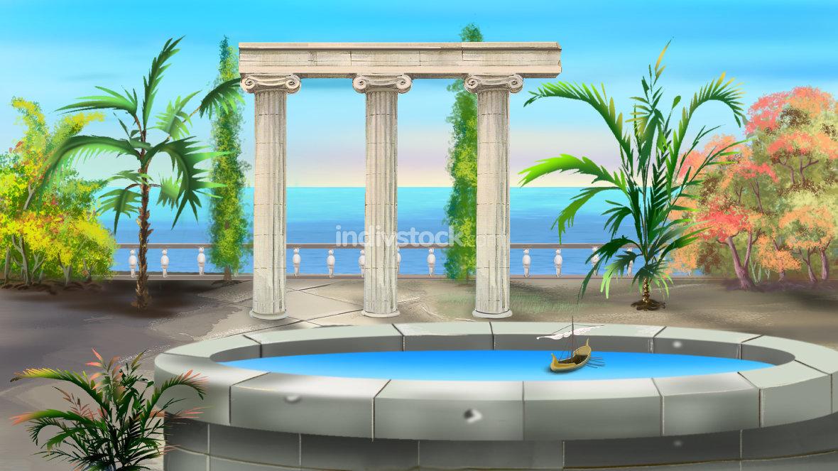 Ancient Colonnade Illustration
