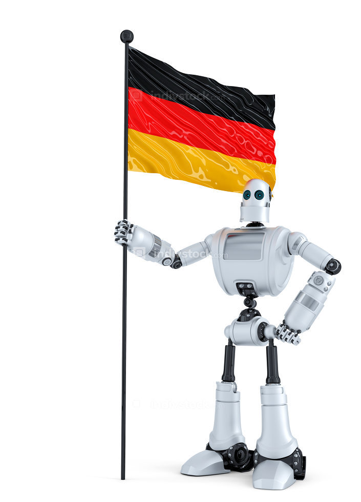 Android Robot standing with flag of Germany. Isolated. Contains clipping path