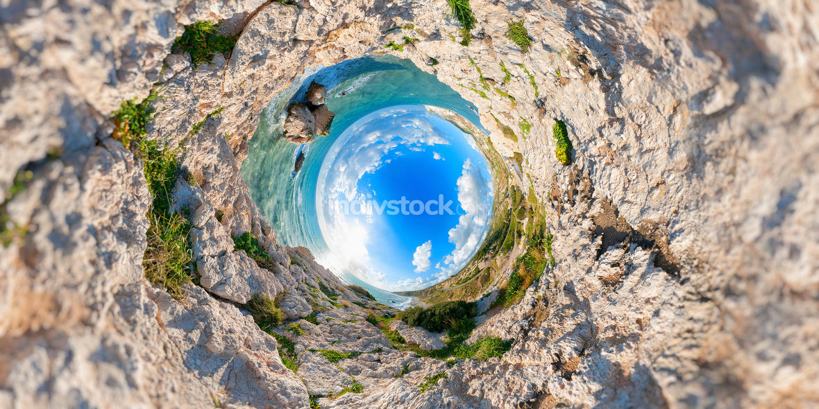 Aphrodites Rock. Stereographic projection. Paphos District. Cypr