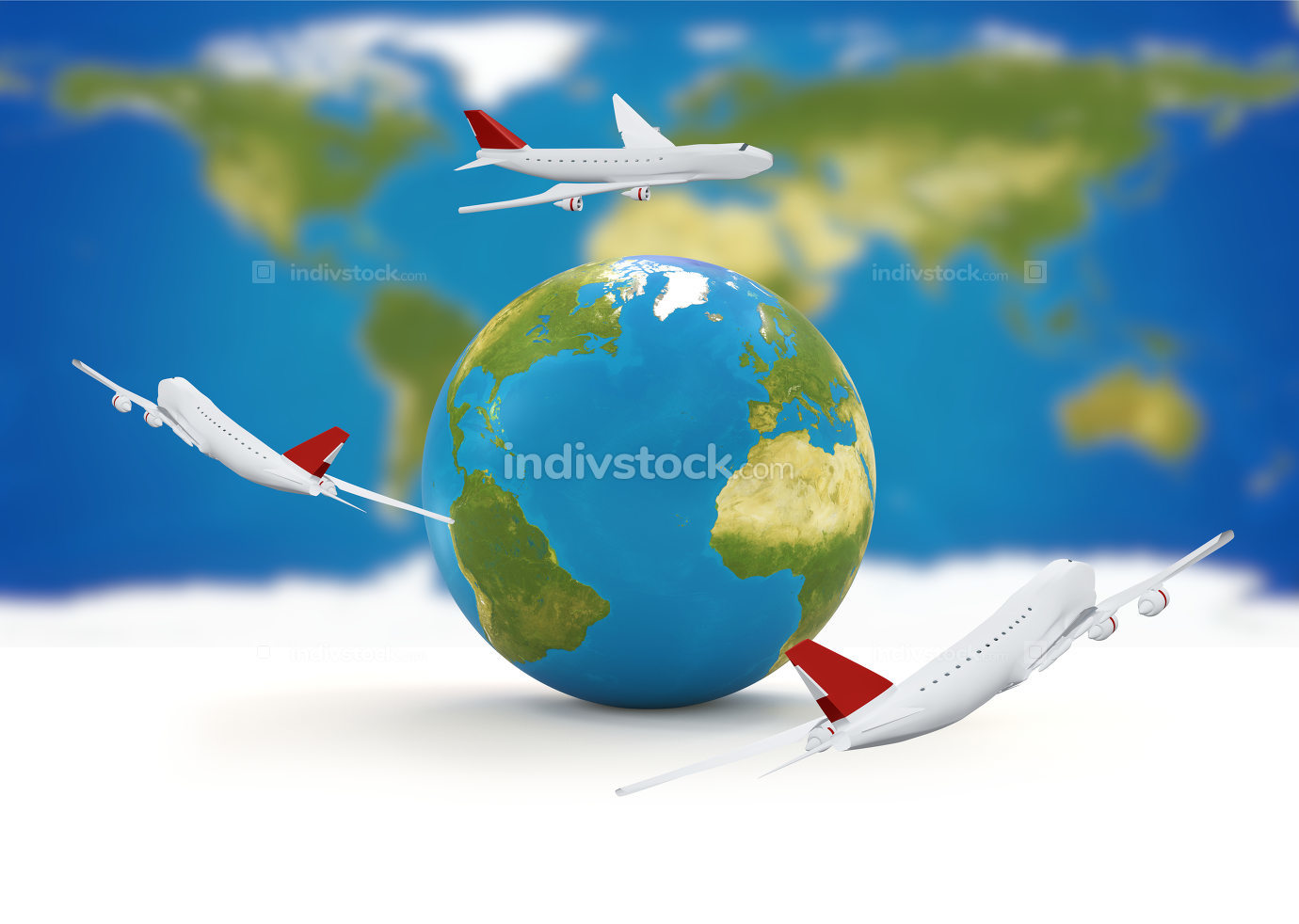 around the world. airplanes earth 3d-illustration. elements of t