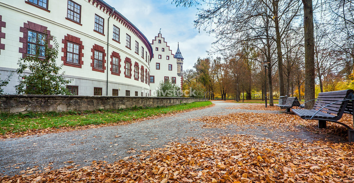 Autumn in the castle park of Meiningen Thuringia Germany  Octobe