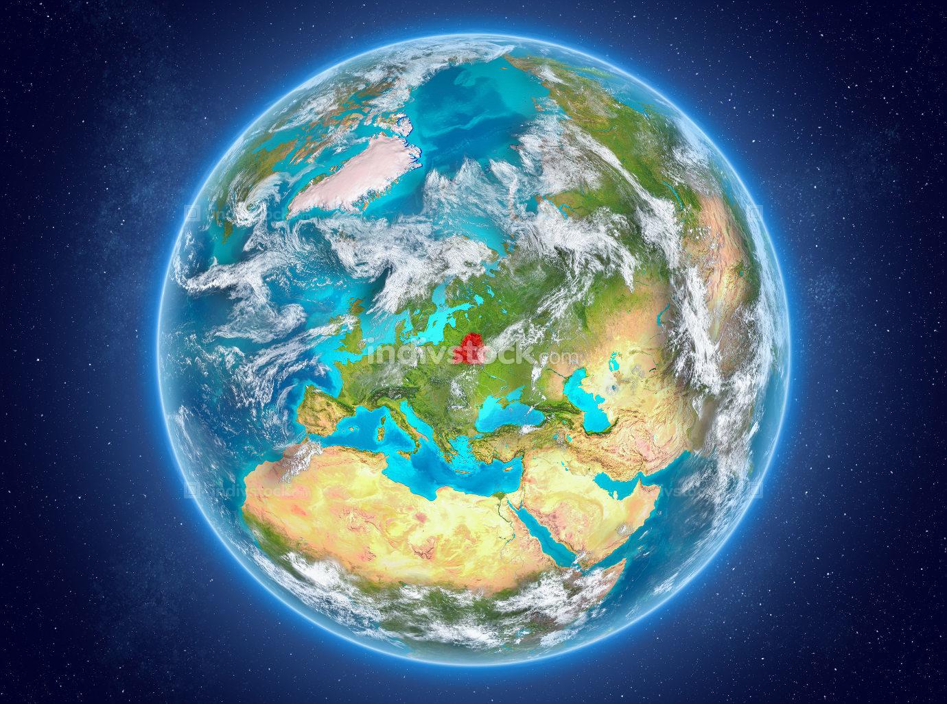 Belarus on planet Earth in space