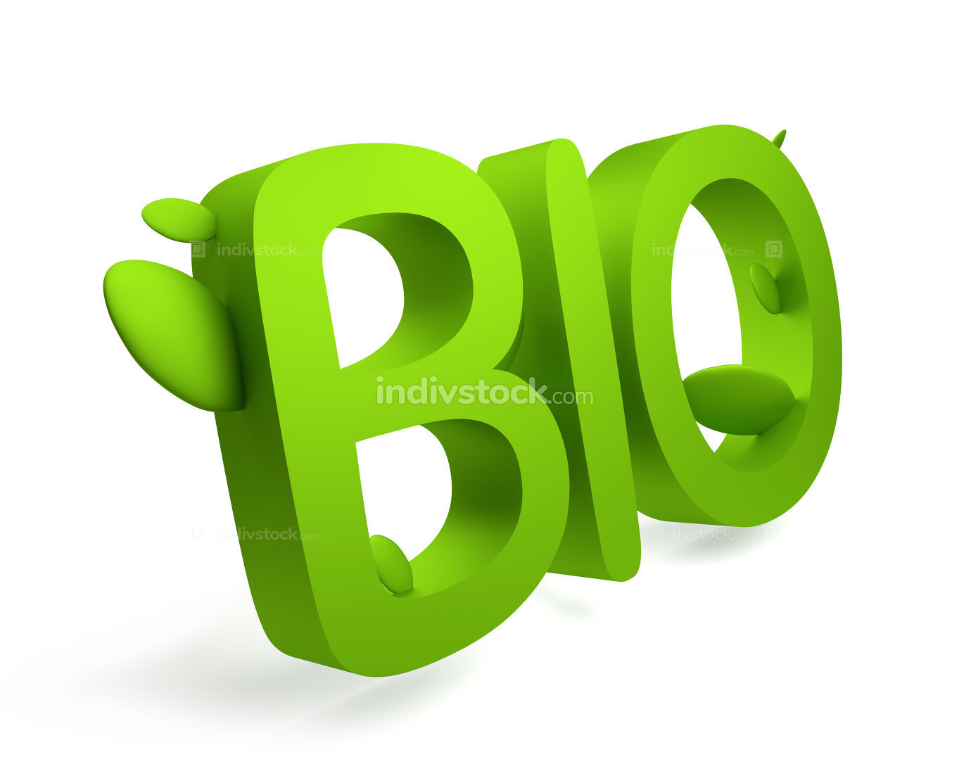 bio green leaves 3d rendering bold letters